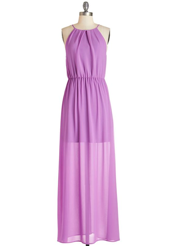Bungalow Bash Dress. Celebrate a gathering with champagne and cupcakes while sporting this purple maxi dress! #purple #modcloth