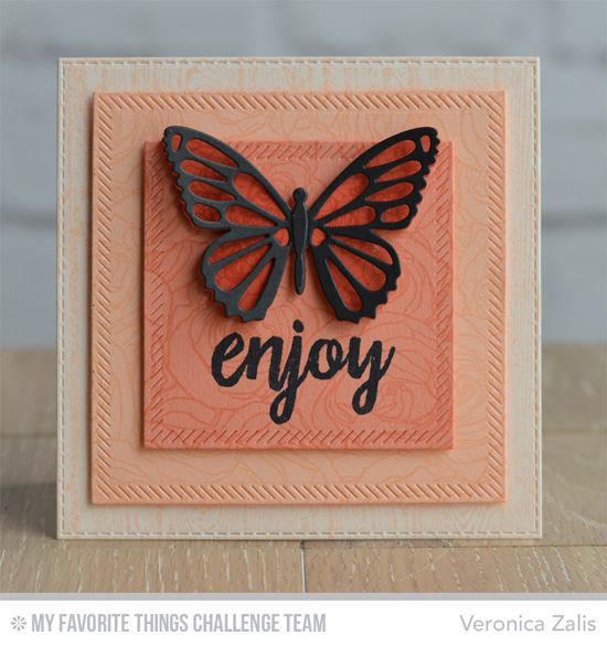 Butterfly Enjoy Card by Veronica Zalis featuring the Brushstroke Birthday stamp set, Roses All Over background stamp, and the Flutter of Butterflies - Solid and Lace Die-namics #mftstamps