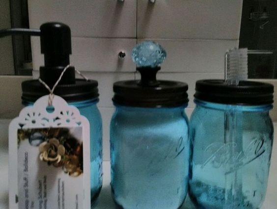 Blue Collectible Mason Jar Set with Soap Dispenser, Toothbrush Caddy and Storage #Mason