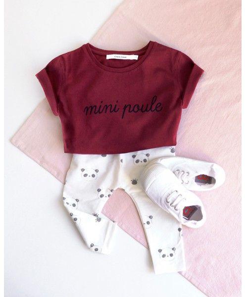 Le t-shirt Mini Poule - bordeaux sur émoi émoi