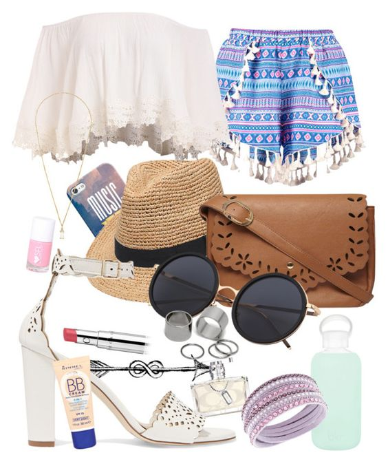 """lookbook shorty summer"" by angelwissal13 on Polyvore featuring Boohoo, Casetify, Gottex, J.Crew, bkr, Swarovski, Dorothy Perkins, Pieces, Eddie Borgo and Rimmel"