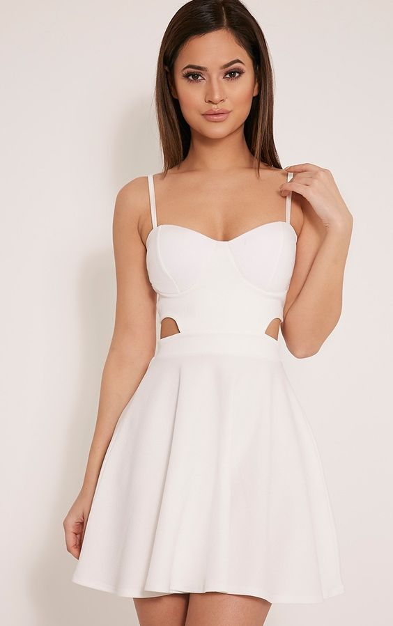 Chloey White Cut Out Crepe Skater Dress