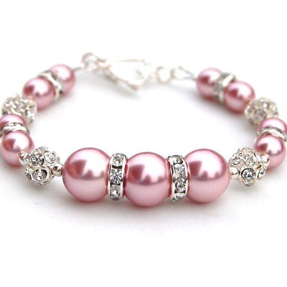 Valentines Bracelet Sparkling Pink Pearl Bracelet by AMIdesigns, $18.00: