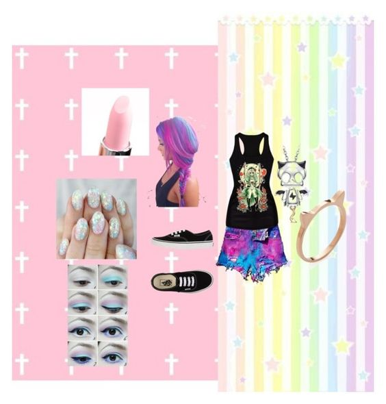"""Pastel Goth"" by ominotago-smith on Polyvore featuring WithChic, Bellissima, Vans, Belec, Jacquie Aiche, women's clothing, women, female, woman and misses"