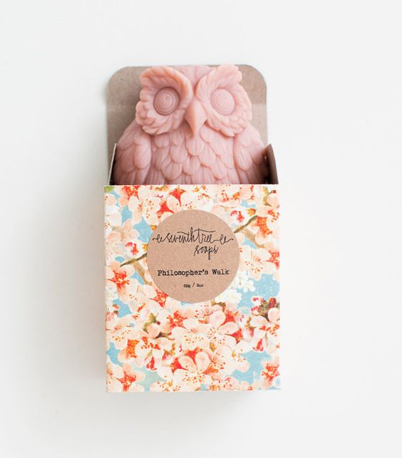 PRECOMMANDE Cherry Blossom Owl savon - naturel, fait main, froid transformés, Vegan