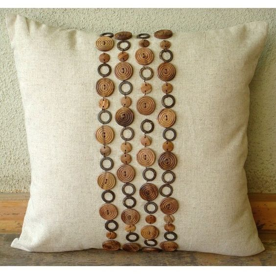 Wood Space 18x18 - Throw Pillow Covers - 18x18 Inches Linen Pillow Cover with Wooden Beads: