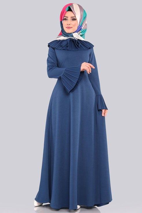 Elbise Pilise Detayli Elbise Lrj505 S Indigo Elbise Elbiseler Indigo