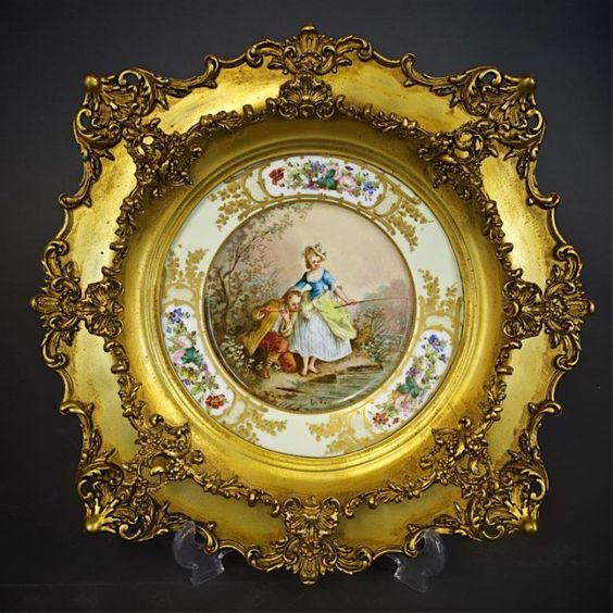 HAND PAINTED SEVRES PLATE IN GILTWOOD FRAME, made for Château des Tuilleries