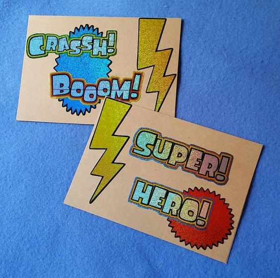 Super Hero  Two Manly Blank Greeting Cards  recycled by plarnstar