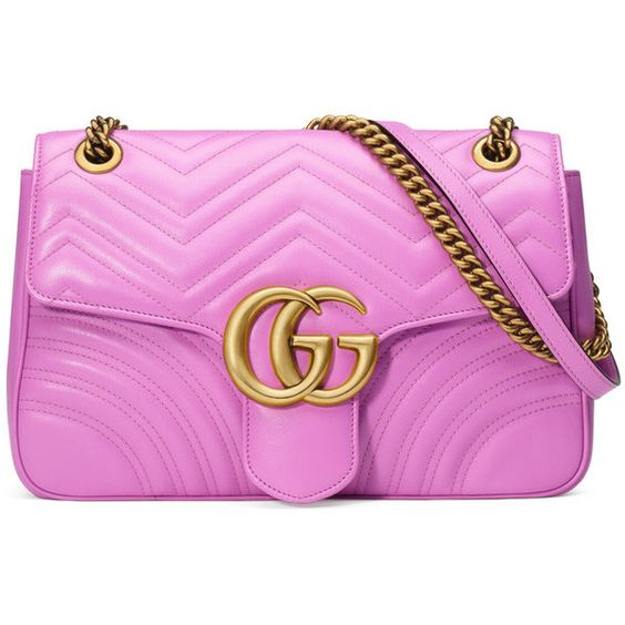 GG Marmont Matelassé Shoulder Bag ($2,300) ❤ liked on Polyvore featuring bags, handbags, shoulder bags, genuine leather shoulder bag, leather handbags, gucci purses, pink handbags and gucci handbags