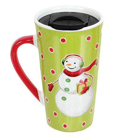 Love this Green Snowman 18-Oz. Travel Mug on #zulily! #zulilyfinds