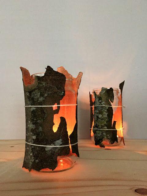 Gekritzel Auf Rinde Mit Naturmaterialien Arbeiten Basteln Herbst Dekoration Herbst Dekoration Windlichter Selber Basteln