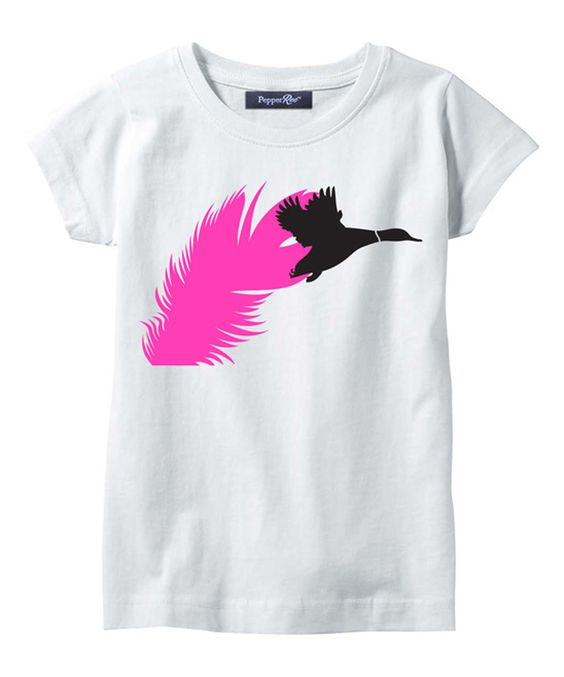 Loving this PepperRoo White & Hot Pink Duck Feather Tee - Toddler & Girls on #zulily! #zulilyfinds