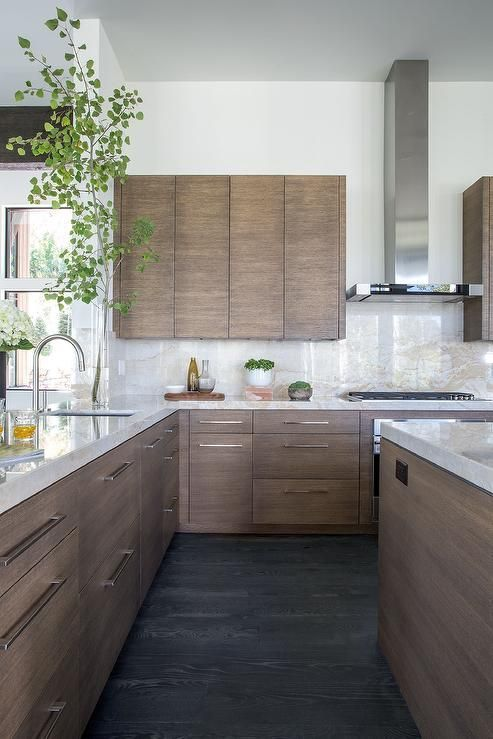 Walnut Stained Flat Front Kitchen Cabinets With White And Gold Stone Countertops Kitchen Design Modern Kitchen Design Modern Kitchen Cabinets