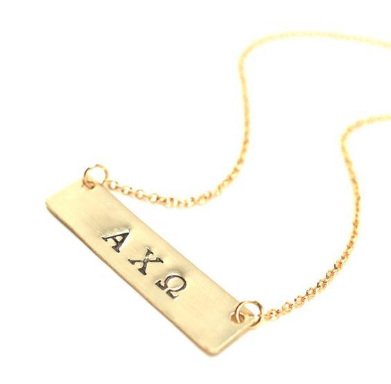 Greek letter sorority necklace initials monograms and for Sorority necklaces letters