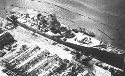 Jean Bart viewed from an aircraft of USS Ranger, Casablanca, French Morocco, 8 Nov 1942, photo 1 of 3