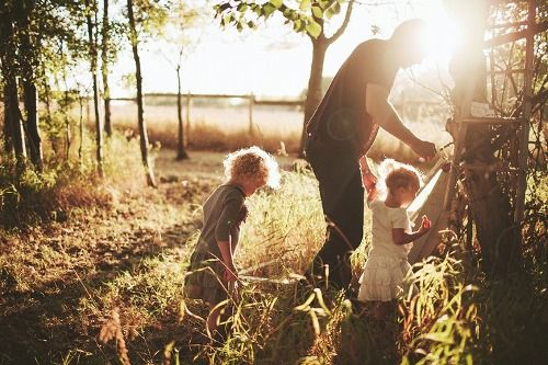 going outside with c..  in early mornings, mist, sunrise is a lovely and refreshing time to share her sweetness.  if we had a garden or pets, tending them.