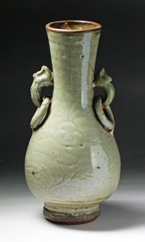 A Rare Ming Dynasty Longquan Porcelain Vase Of Baluster Form With
