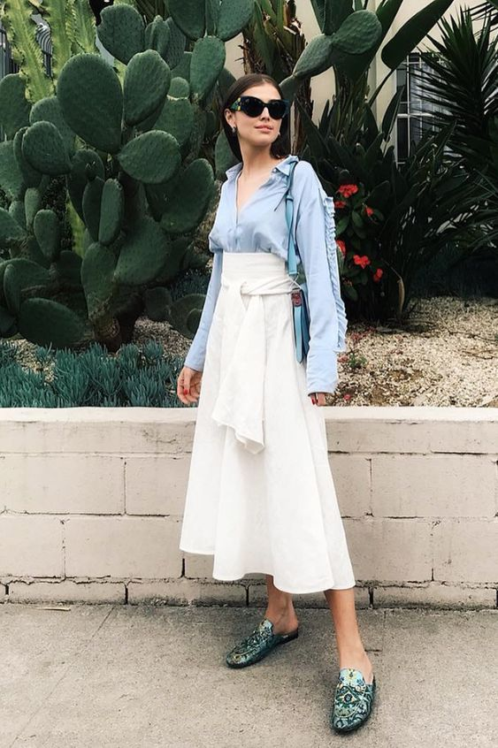 nyc summer outfits button-down tie waist skirt