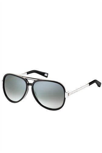 Marc Jacobs black havana aviator with gold arm frames and logo detailing.