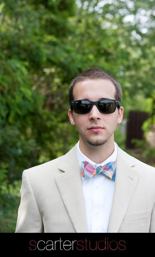 classic raybans kj2p  groom in his raybans and madras bow tie, classic
