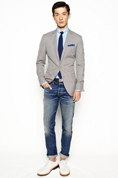 Grey jacket light blue shirt navy tie blue pocket square jeans