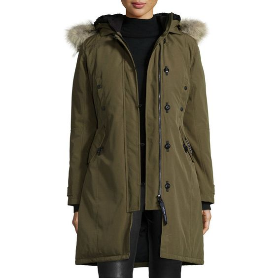 Canada Goose Kensington Fur-Hood Parka (3.005 BRL) ❤ liked on Polyvore featuring outerwear, coats, fleece lined parka, fur-lined parkas, canada goose parka, canada goose coats and brown coat