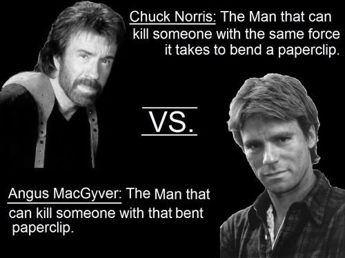 Chuck Norris vs MacGyver | Mac e Chuck norris Pinterest500 × 375Search by image Chuck norris · I can't 😂