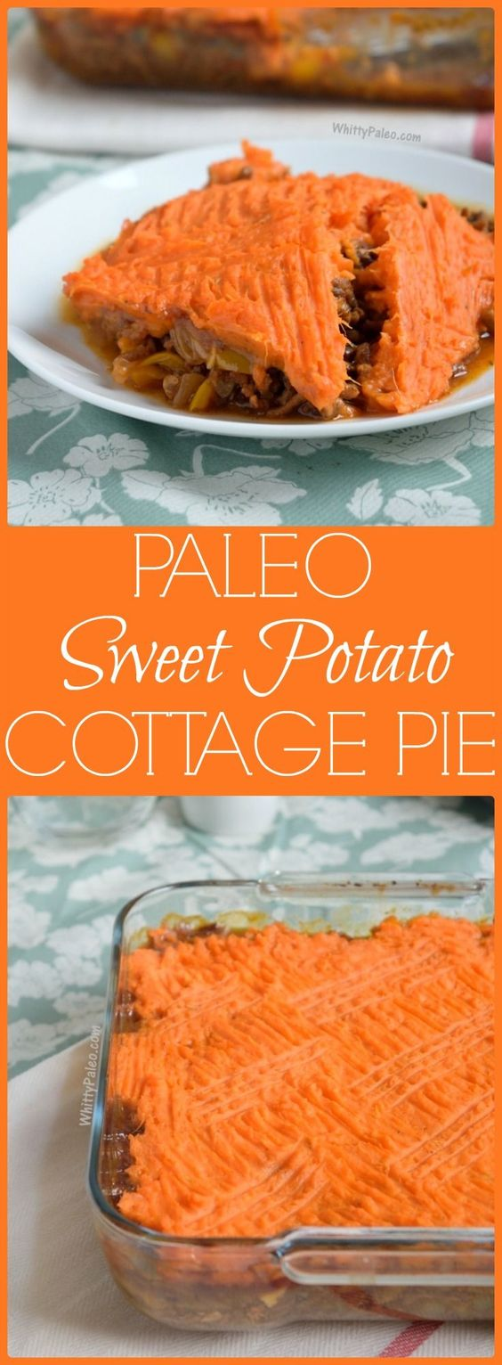 A Healthy Paleo Cottage Pie (the one with minced beef) topped with seasoned mashed sweet potato. Dairy and Gluten Free recipe and perfect for a comfort night in!