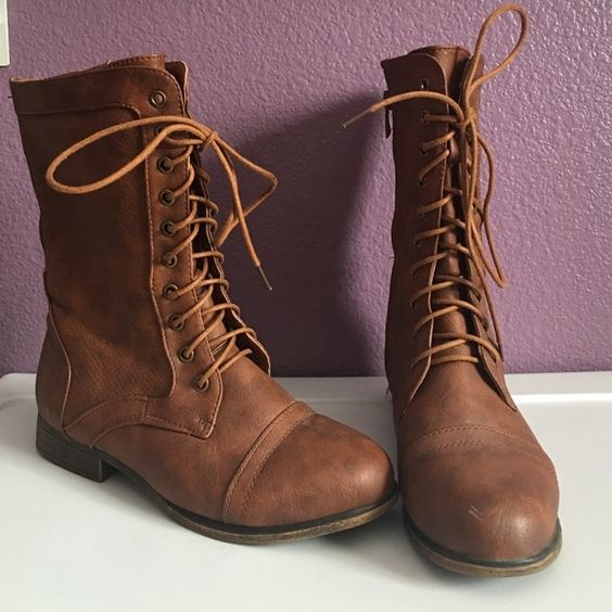 Brown combat boots Top Moda brown boots Top Moda Shoes Winter & Rain Boots