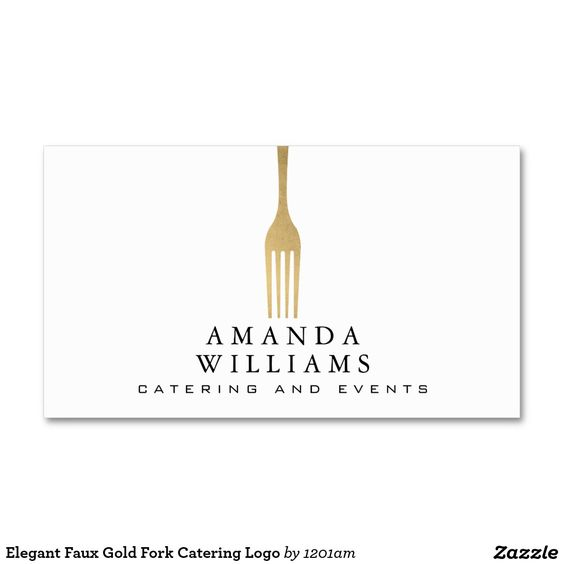 Elegant Faux Gold Fork Catering Logo Double-Sided Standard Business Cards (Pack Of 100) - Ready to customize for yourself! Perfect for caterers, personal chefs, food stands, meal preparation and more.