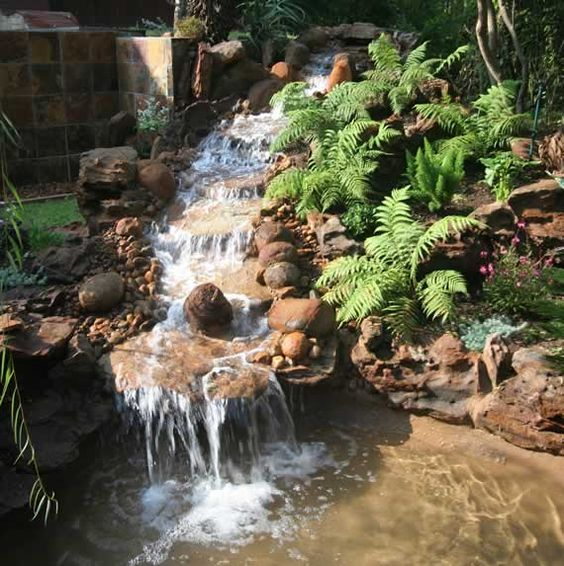 Here 39 s a water feature for the fairy garden hillside the for Fairy garden waterfall