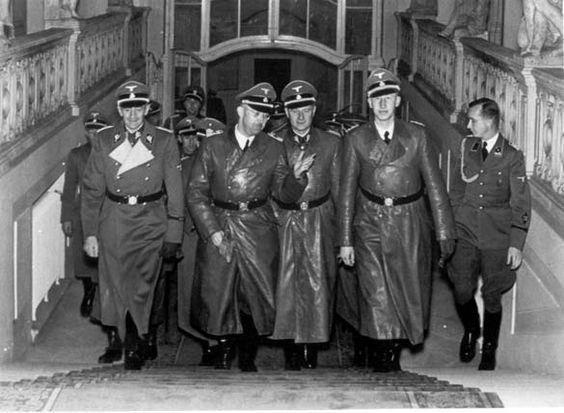 A gathering of killers. Reichsführer-SS Heinrich Himmler visit in Prague, October 1941. From left to right: Gruppenführer-SS Herman Frank, Reichsführer-SS Heinrich Himmler,  Gruppenführer-SS Karl Wolff, Himmler's chief-of-staff, and Obergruppenführer-SS Reinhard Heydrich, chief of the SD.