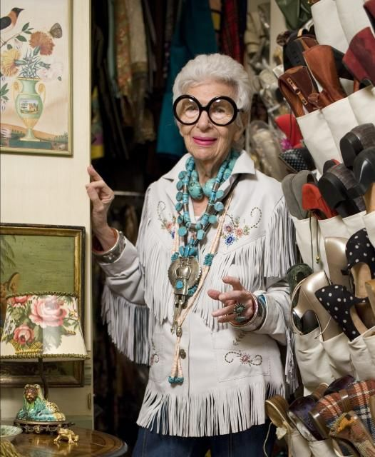 Iris Apfel showing how to rock some turquiose and fringe! @Jeannine Harris I love it!