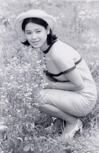 お花畑の中でワンピースを着てしゃがんでいるひし美ゆり子の画像