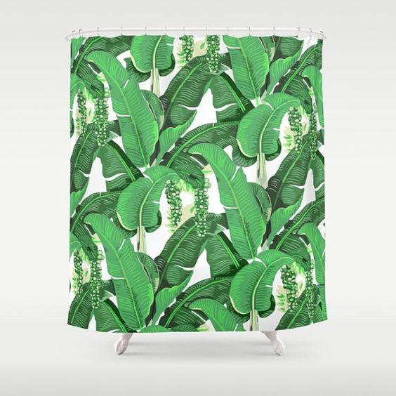 Brazilliance inspirierte Duschvorhang - Bananenblättern - Trauben - Green Leaf Muster - Beverly Hills Hotel - Boho Chic Badezimmer Dekor