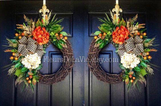 NEW! Door Wreaths, Fall Wreath for Door, Monogram Wreaths, Double Door Wreaths, Grapevine Wreath, House Warming Gift, Door Decor by FleursDeLaVie on Etsy https://www.etsy.com/listing/463422189/new-door-wreaths-fall-wreath-for-door