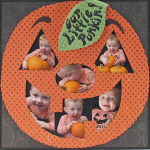 I am absolutely going to do this on one of my digital scrapbooking layouts for my sister's book. This is such a cute idea. You can find a lot of pumpkin templates out there (see below) to accomplish this. You can also cut your photos whatever shape you want and just place them on your pumpkin paper with the right shadow work to look like they are cut out.