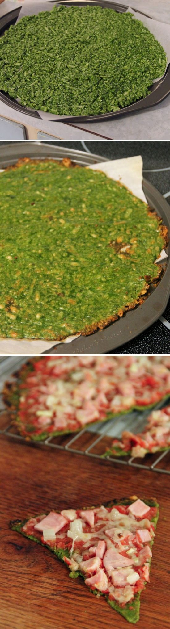 Spinach Pizza Crust. Love the cauliflower pizzas, but this sounds just as delish!