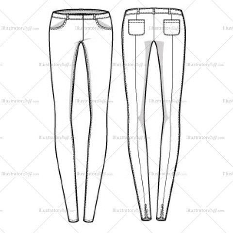 Women's Basic Skinny Jeans Fashion Flat Template