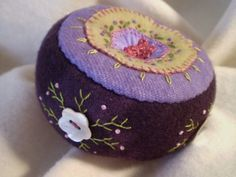 Deep Purple Pincushion with Shell Buttons by manitobagifts on Etsy