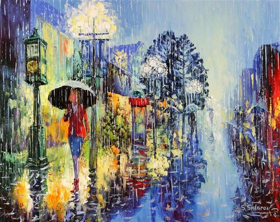 Image result for rainy day painting