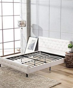Mecor Faux Leather Diamond Button Upholstered Twin Full Queen Size Platform Beds Frame With Solid Leather Platform Bed White Apartment Decor Platform Bed Frame