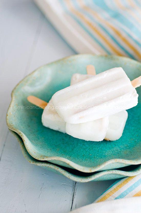 Coconut popsicles - 2 c coconut milk .  2 c evap. milk.  1 c. sugar. 1/2 t. vanilla.  Freeze in molds.