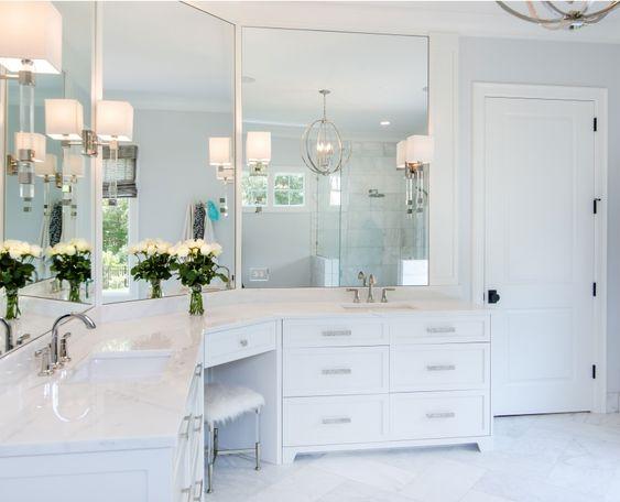 Large Master Bath Sconce Powder Room Vanity White Cabinets Amazing Bathrooms Powder Room Vanity Master Bathroom