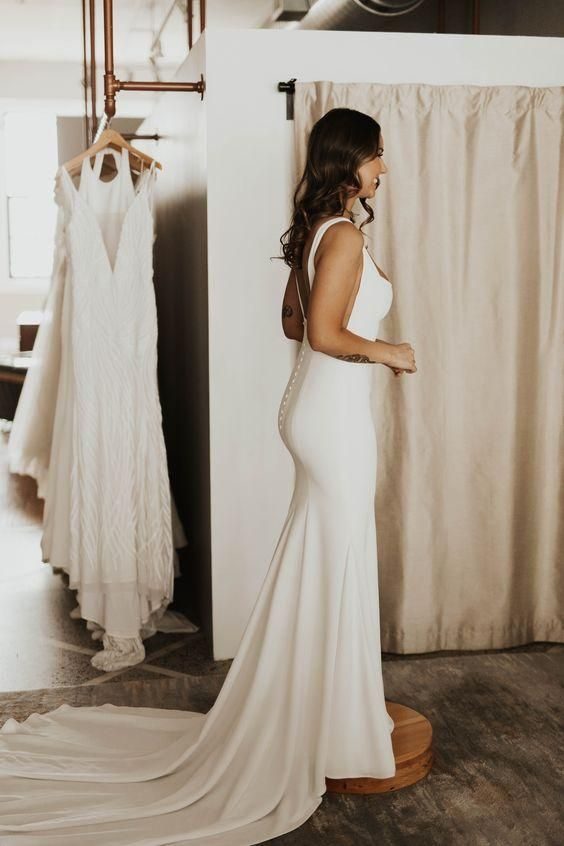 Square Neck Simple Bridal Dresses For Wedding With Sweep Train Simple Bridal Dresses Crepe Wedding Dress Wedding Dress Alterations