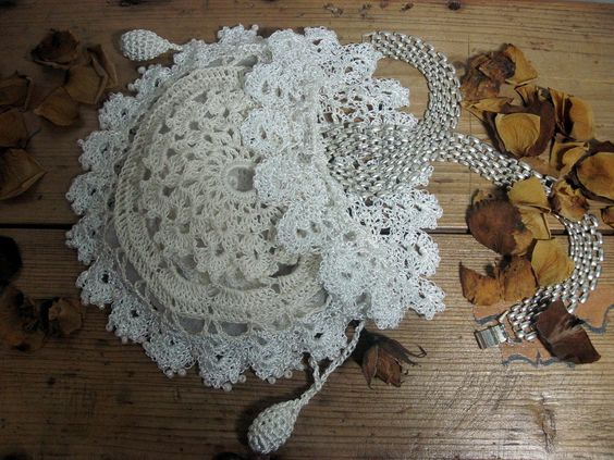 Free Crochet Wedding Bag Pattern : Confirmation Rosary Pouch Flower Girls Irisch Lace crochet ...