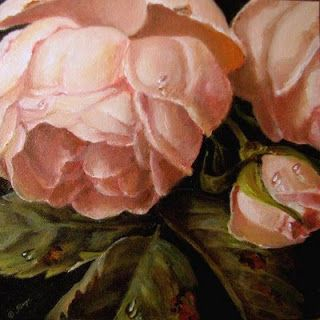 JEANNE ILLENYE - Still Lifes: Dew Kissed English Rose 4x4 little gems