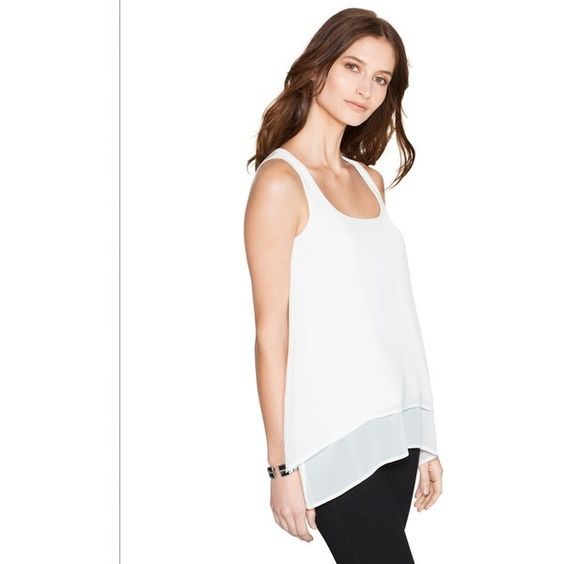 White House Black Market Womens Split Back Layered Tank Top Top ($68) ❤ liked on Polyvore