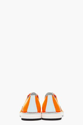 PIERRE HARDY - Neon Orange Colorblock BY10 Wingtip Brogues $520